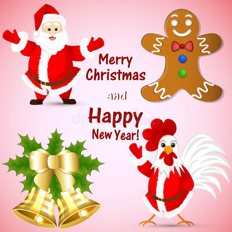 Clip art por el Año Nuevo con Santa Claus, el pan de jengibre, campanas de oro y un gallo libre illustration