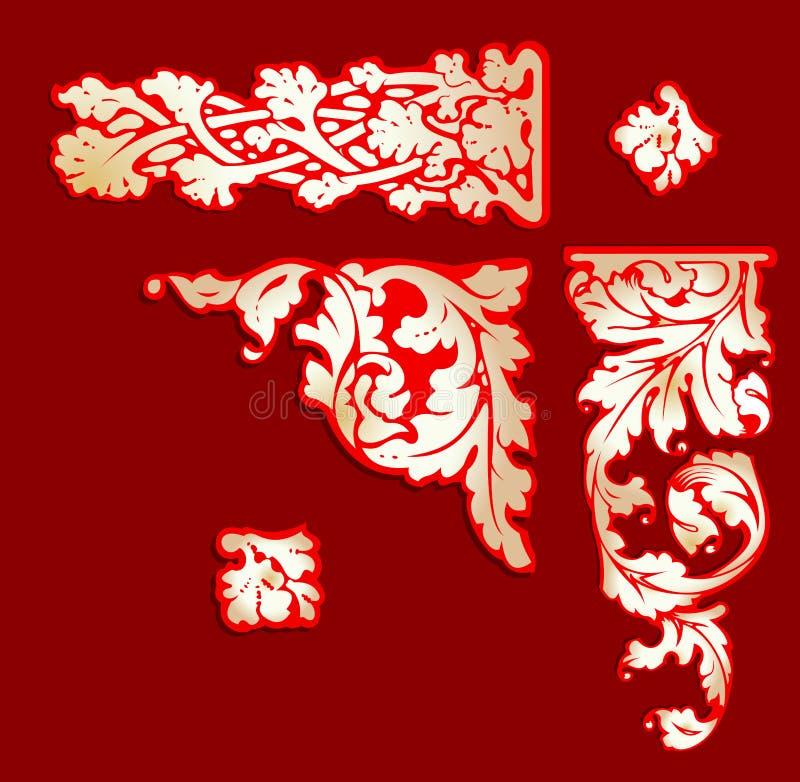 Clip-art rouge baroque d'or. illustration libre de droits