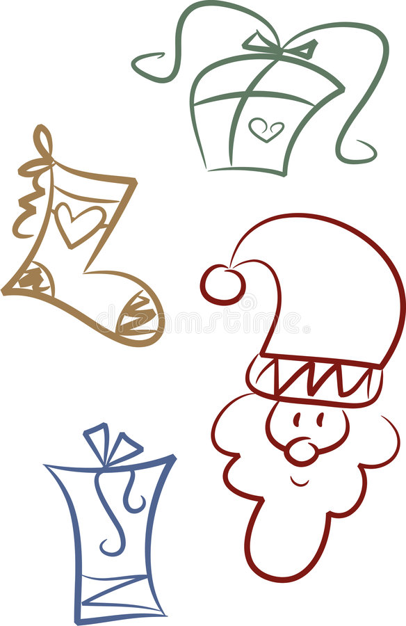 Clip-art Set: Christmas giving. Set of four whimsical christmas illustrations depicting gift-related items (gift packages, stocking) and Santa Claus stock illustration