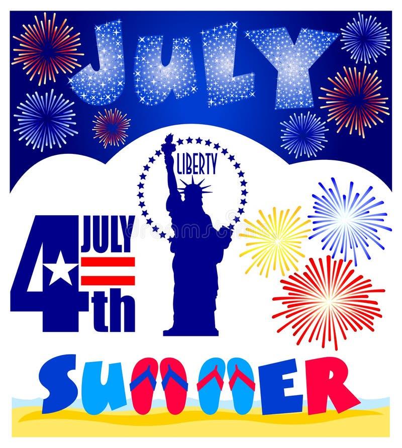 Clip Art Set de los eventos de julio ilustración del vector