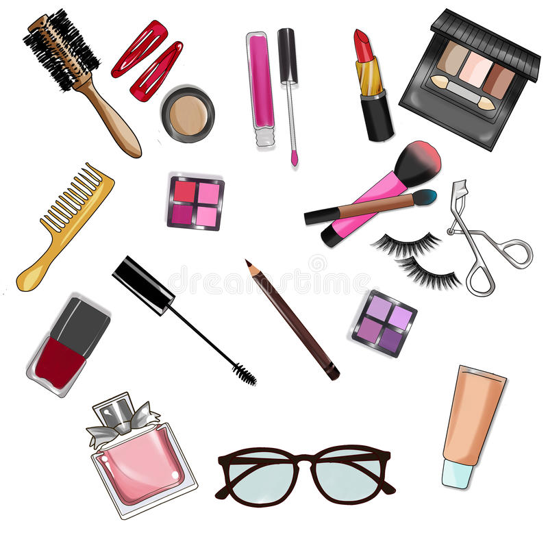 clip art set of make up and cosmetics stock illustration rh dreamstime com Hairdresser Clip Art Hair Stylist Clip Art