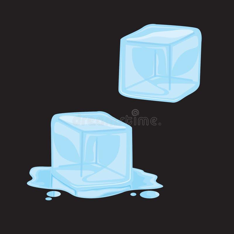 Clip Art Vector Illustration del cubo de hielo stock de ilustración