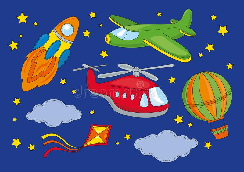 Space Clipart FLY Color Vector Illustration Set Cartoon Picture stock illustration