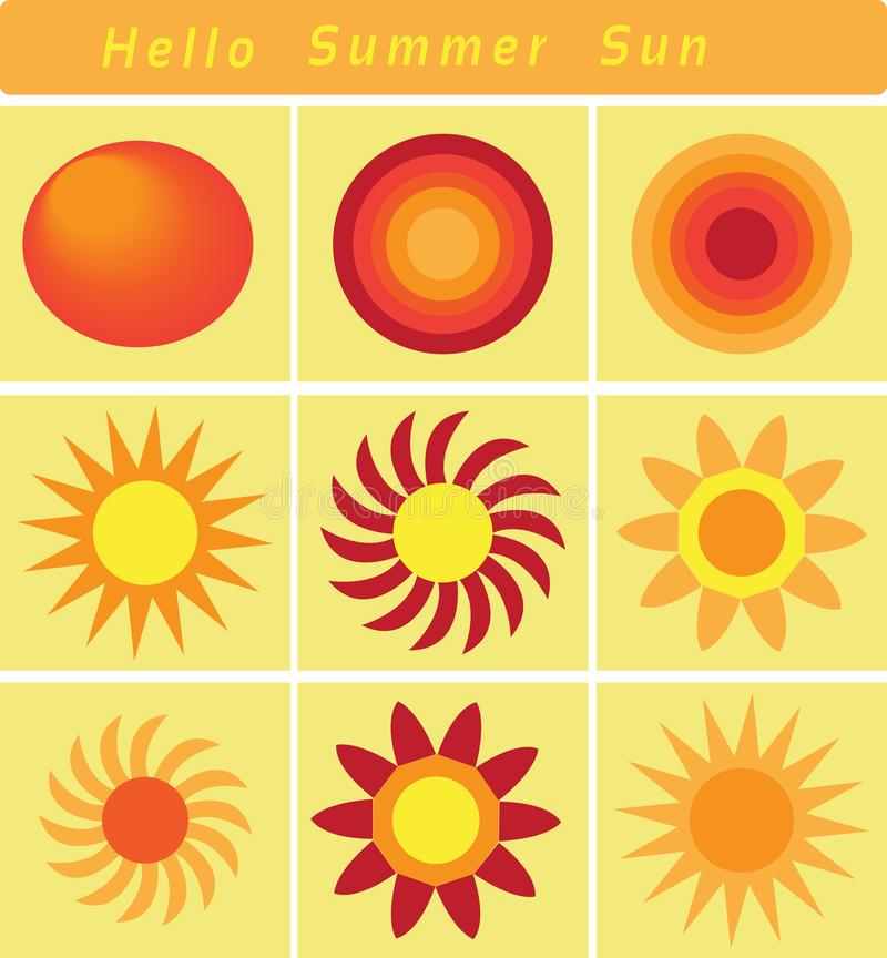 Hello Summer Sun, the Bright Sun in the Summer Season. Clip arts or icons of the sun, showing how the sun looks brighter in the summer season vector illustration