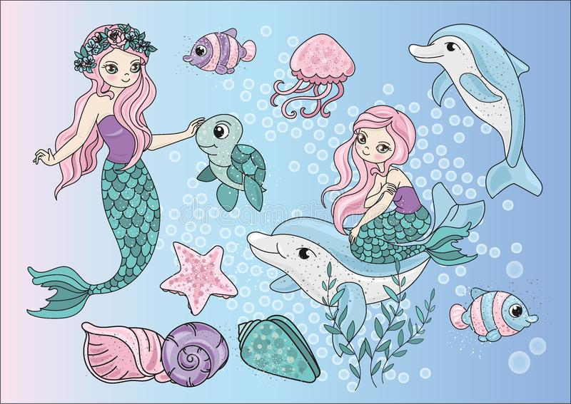 Sea Clipart MERMAIDS Color Vector Illustration Set Cartoon Picture. Sea Clipart MERMAIDS Color Vector Illustration Set About Magic Cartoon Picture for royalty free illustration