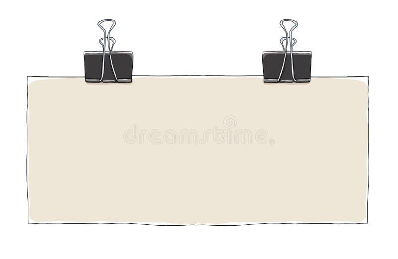 Clip del raccoglitore ed illustrazione lunga della carta in bianco illustrazione vettoriale