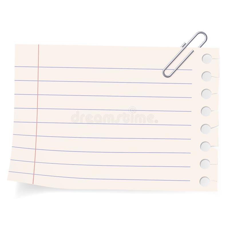 Clip et une partie de papier illustration de vecteur
