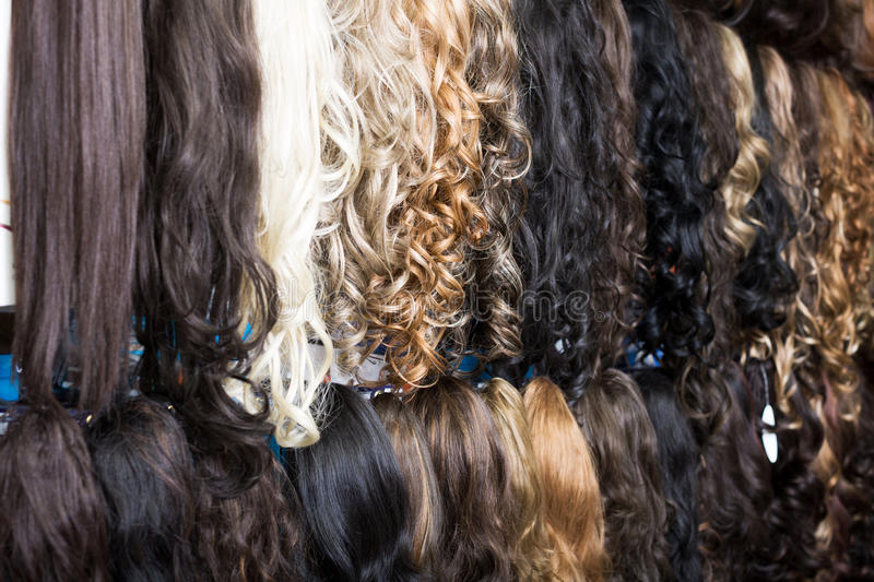 Clip In Hair Extensions In Wig Shop Stock Photo Image Of Personal