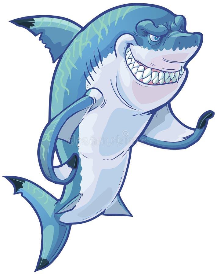 Clip malo Art Illustration de la historieta del vector de la mascota del tiburón que gesticula ilustración del vector
