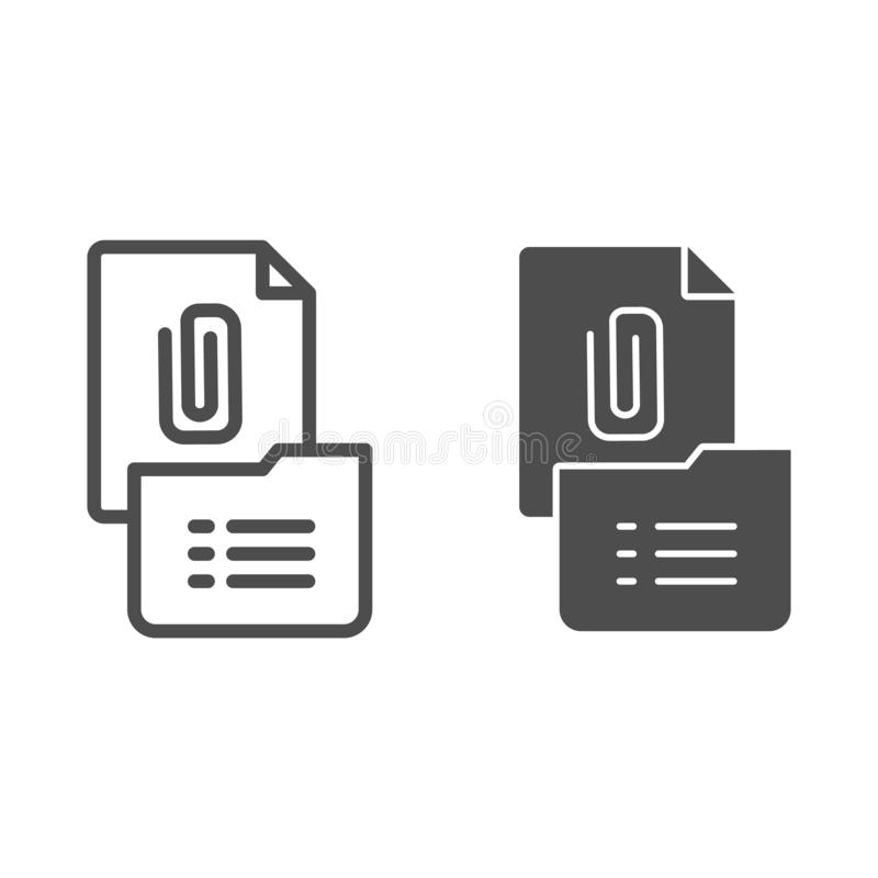 Clip on paper line and glyph icon. Clip folder vector illustration isolated on white. List and folder outline style. Design, designed for web and app. Eps 10 vector illustration