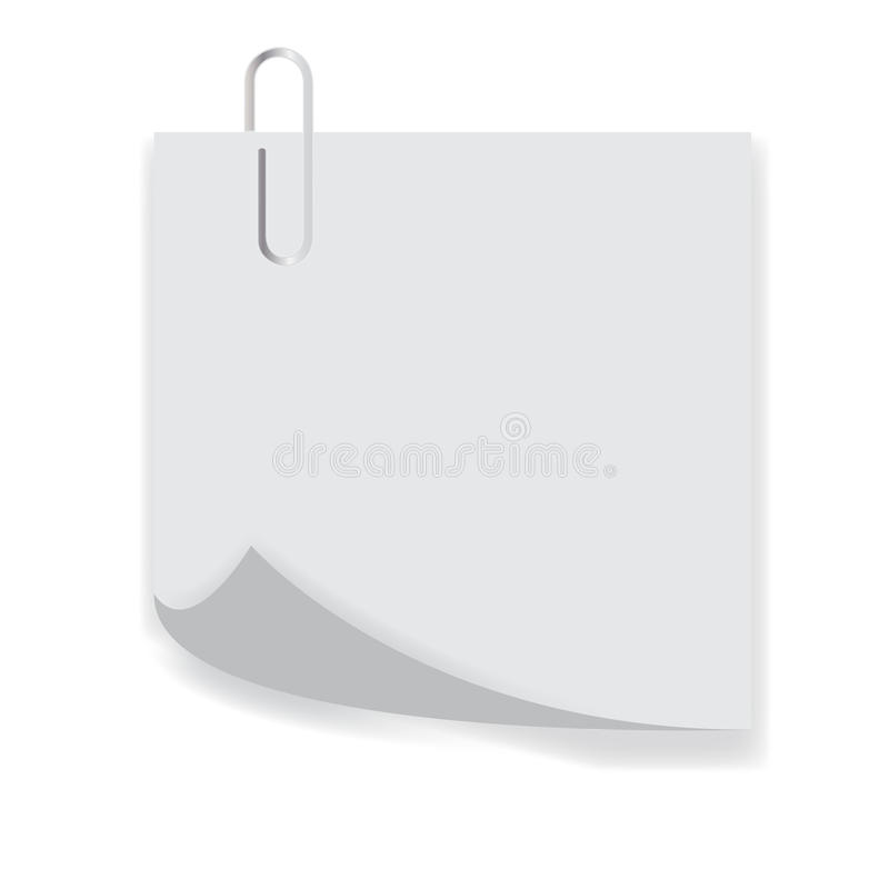 Clip on a paper list with curl. Corner isolated on white background stock illustration