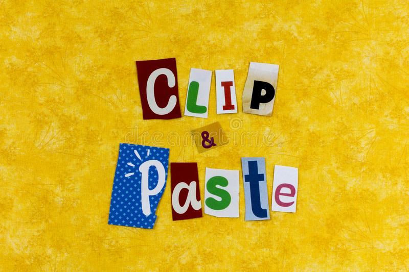 Clip paste cut copy glue letters illustration clipart. Clip paste copy glue letters notes message cut clipart typography cloth cutout clipping newspaper stock photo