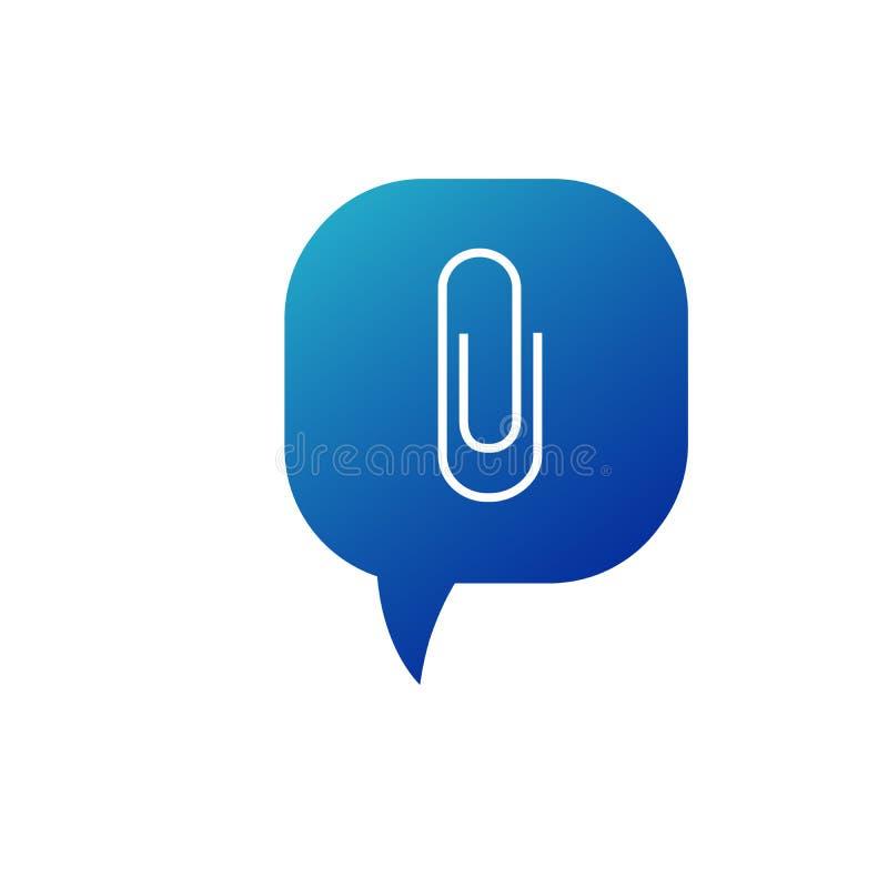 Clip sign illustration. Bright cerulean icon in blue speech balloon. Stock vector illustration isolated on white stock illustration