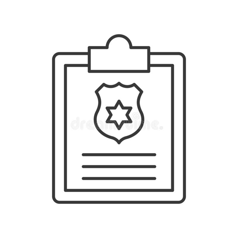 Clip y tablero con el símbolo del escudo de la policía, movimiento editable stock de ilustración