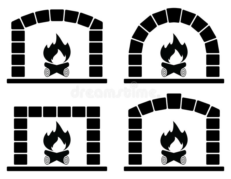 Clipart套与灼烧的火的烤箱 库存例证