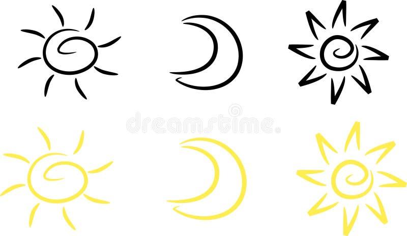 clipart月亮集合星形星期日 皇族释放例证
