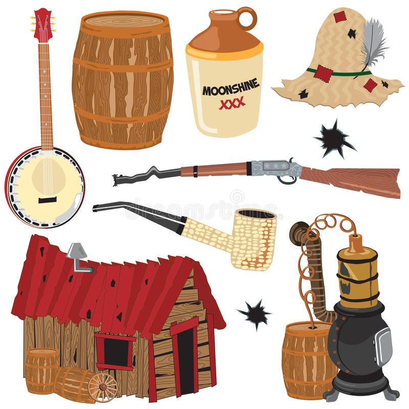 clipart εικονίδια στοιχείων hillbilly απεικόνιση αποθεμάτων