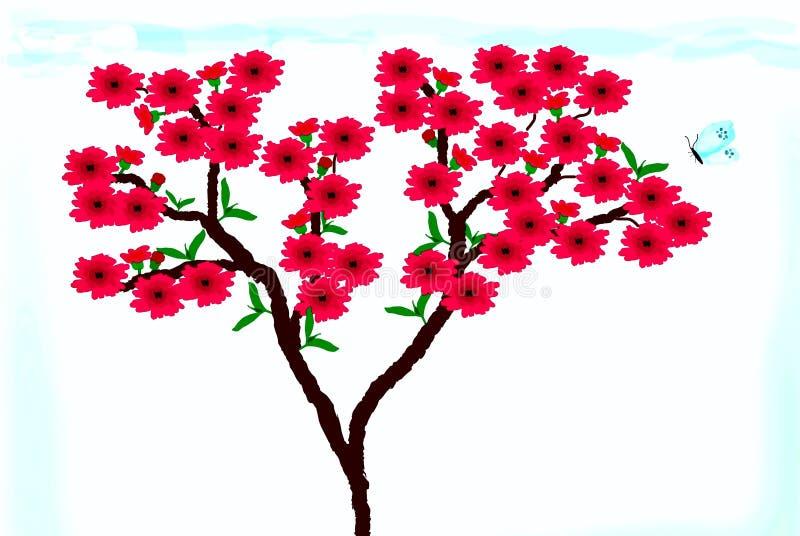 Clipart с цветениями персика стоковое изображение rf