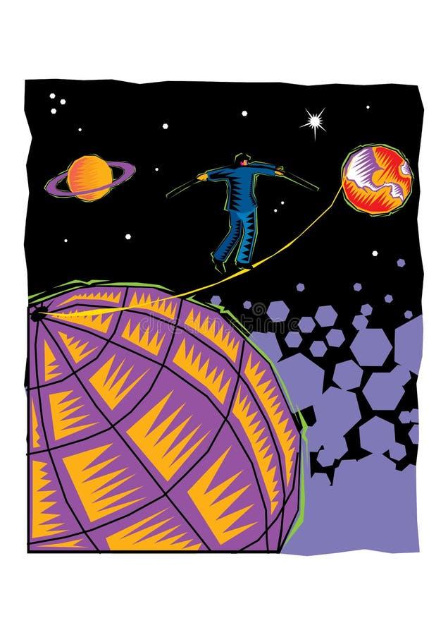 Clipart человека идя в строку между планетами иллюстрация вектора