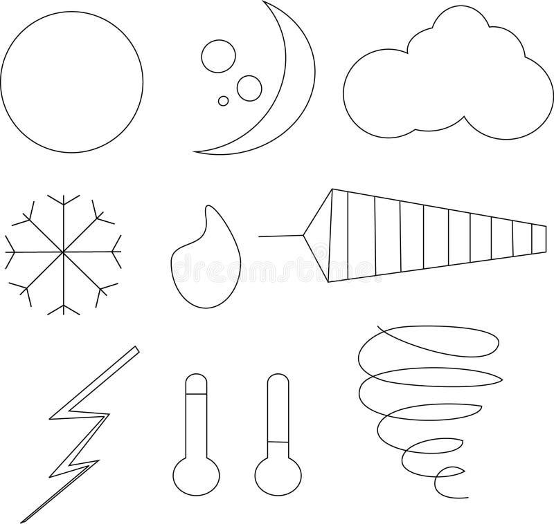 Clipart, черно-белые значки погоды иллюстрация вектора