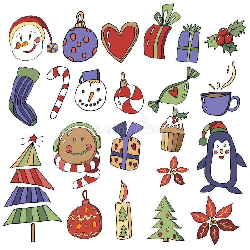 ??clipart 圣诞节设置与动画片新年字符 xmas元素的汇集贺卡设计的 向量例证