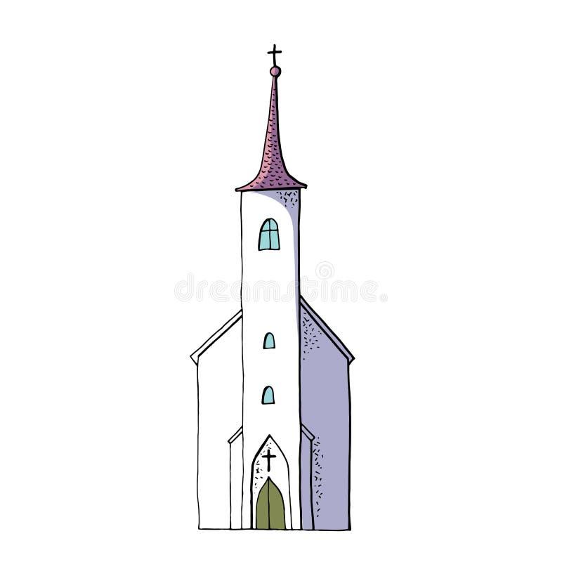 ??clipart 婚姻的设计的老基督教会 库存例证