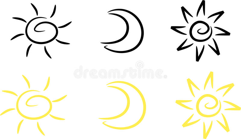Clipart-Ajuste: Sun, lua e estrela ilustração royalty free