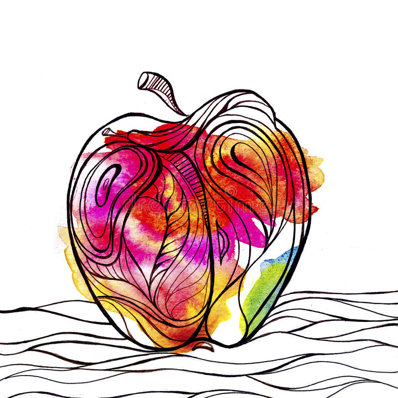 Clipart Apple luminoso Acquerello della macchia royalty illustrazione gratis
