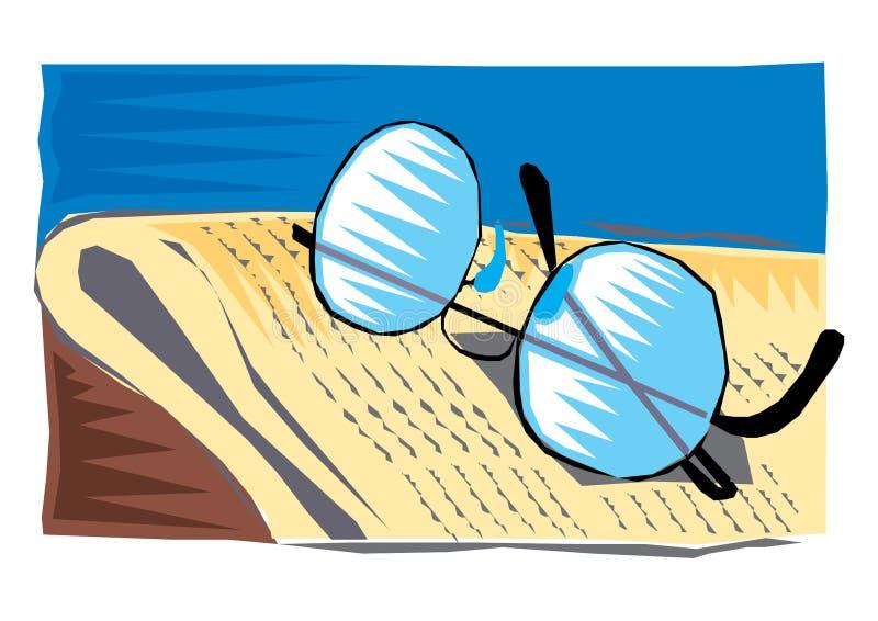 Clipart astratto dei vetri e di un giornale illustrazione di stock