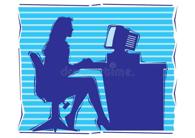 Clipart astratto della donna di affari che lavora ad un computer royalty illustrazione gratis