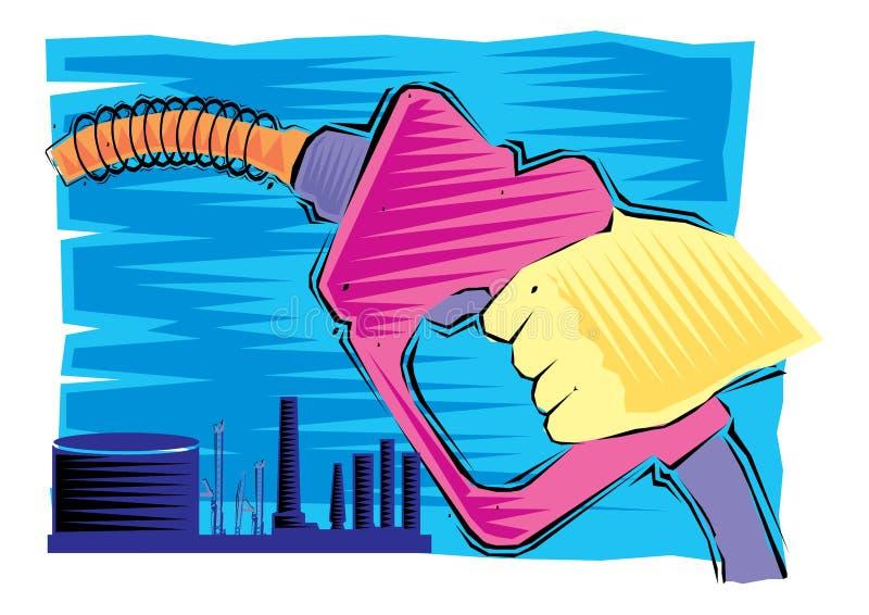 Clipart astratto della rivoltella della benzina del fermo di processo e della mano di produzione di petrolio royalty illustrazione gratis