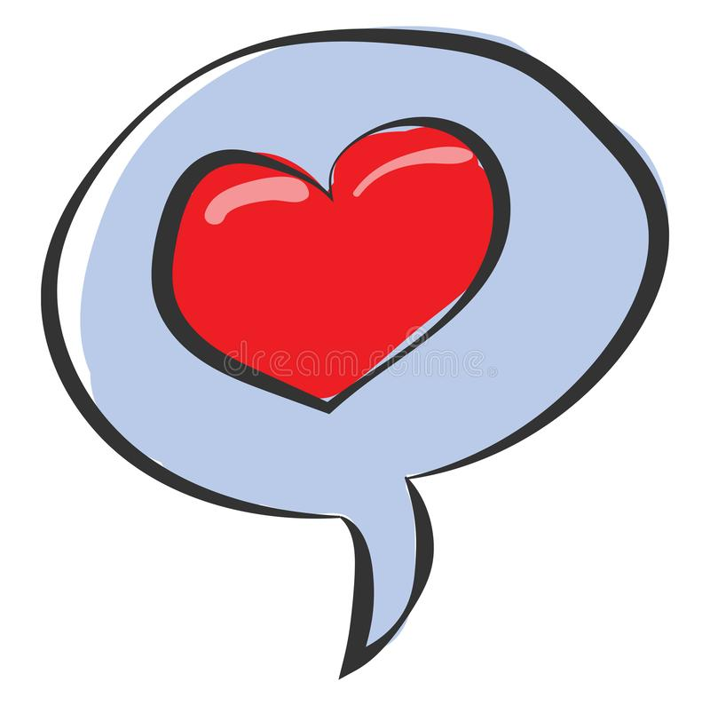 Clipart of a speech bubble with a red heart vector or color illustration royalty free illustration
