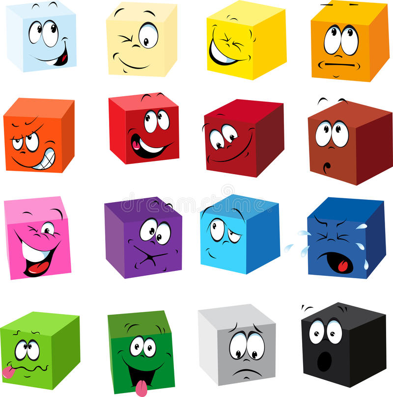 Clipart Boxes with Funny Faces royalty free illustration