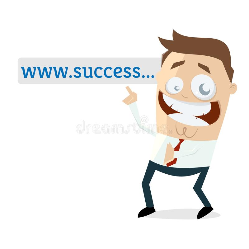 Businessman pointing at browser address bar stock illustration
