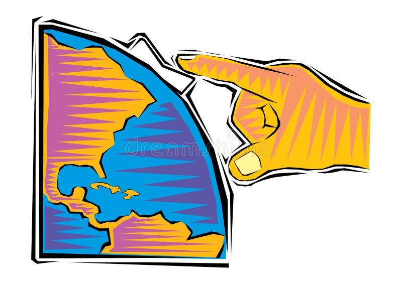 Clipart of Businessman Turn on the global market. Vector stock illustration