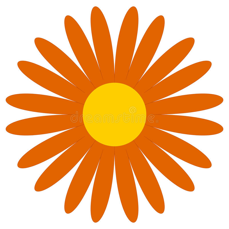 Clipart clássico da flor Margarida alaranjada simples, ícone da flor, symbo ilustração stock