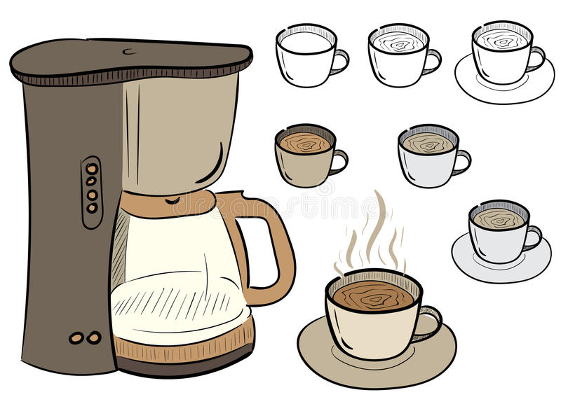 Clipart with coffee royalty free illustration