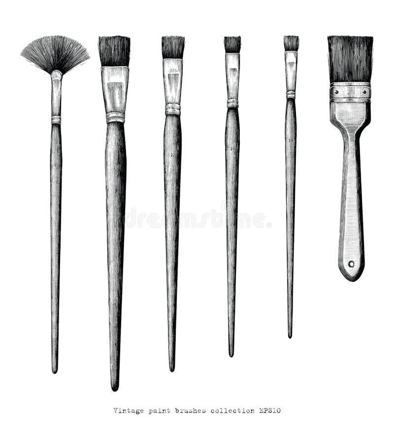Clipart d'annata del disegno della mano dell'insieme dei pennelli isolato su briciolo royalty illustrazione gratis