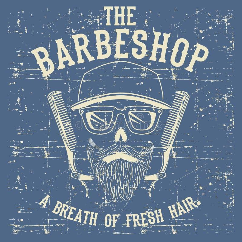 Clipart d'annata dell'illustrazione di vettore di Barber Shop Logo Design Template del cranio illustrazione vettoriale