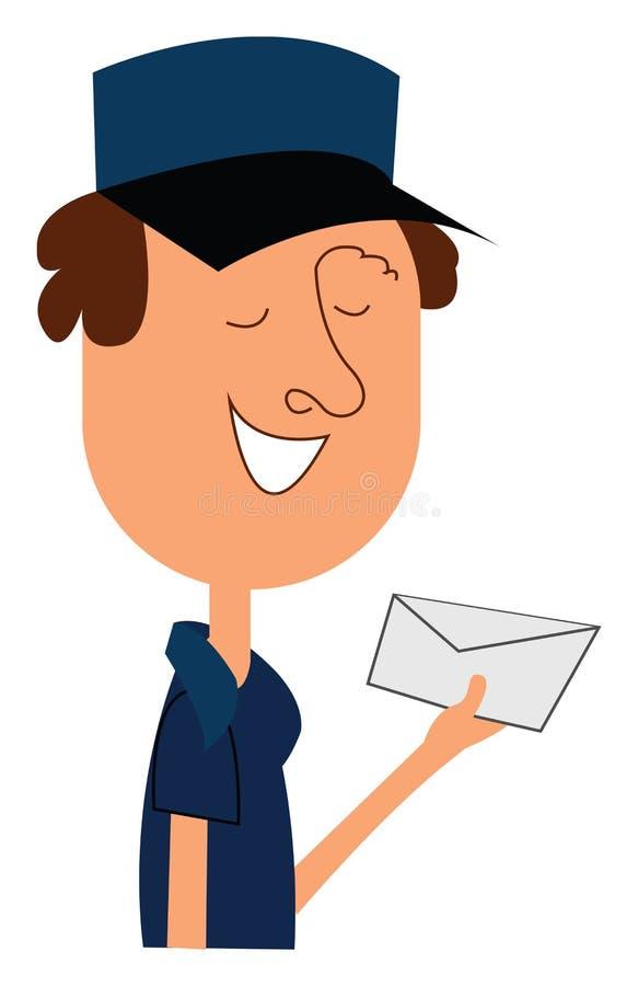 Clipart d'un facteur transportant une enveloppe dans son vecteur à la main ou son illustration de couleur illustration stock