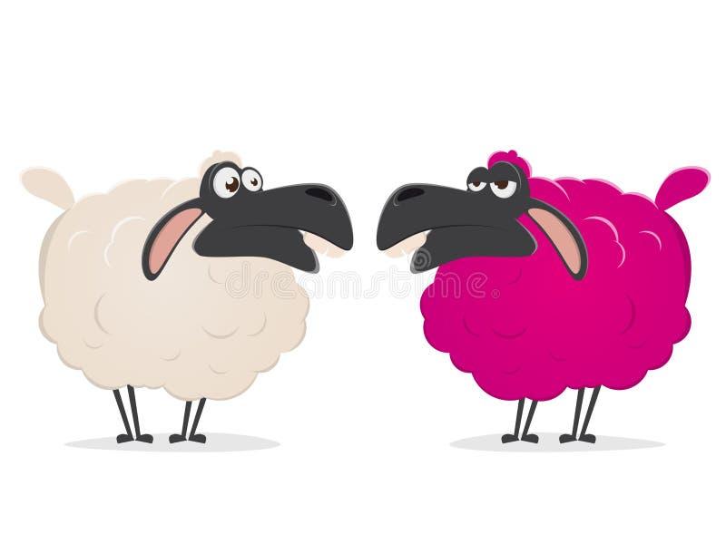 Clipart d'un mouton rose fou illustration stock