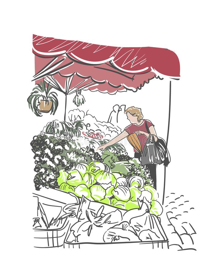 Clipart da aquarela da ilustração do vetor do mercado de rua ilustração royalty free