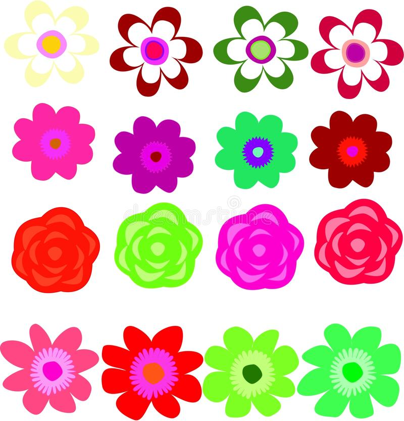 Clipart das flores - grupo de 16 flores foto de stock royalty free