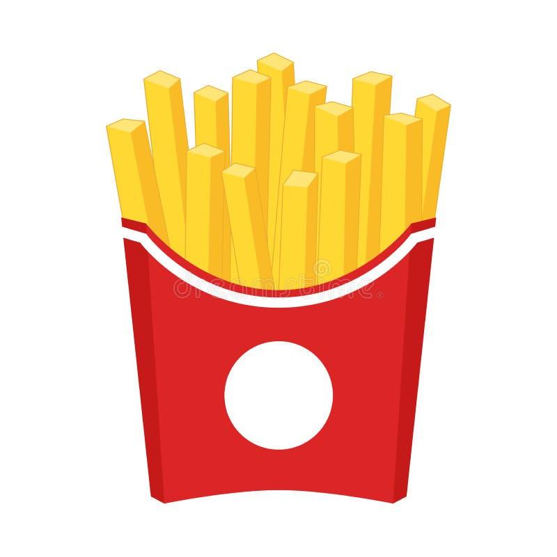 Clipart de la historieta de las patatas fritas Patatas fritas en una caja de papel roja ilustración del vector
