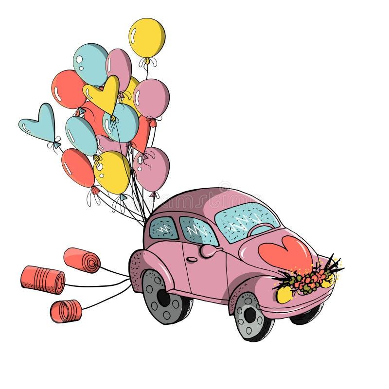 Clipart de mariage petite rétro voiture décorée des boîtes en fer blanc et des ballons colorés, pour épouser la conception illustration de vecteur