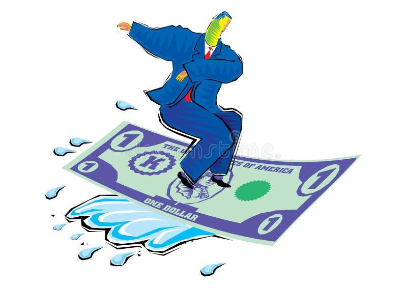 Clipart de montar la onda remilgada - alfombra de vuelo del hombre de negocios hecha de moneda del dólar stock de ilustración