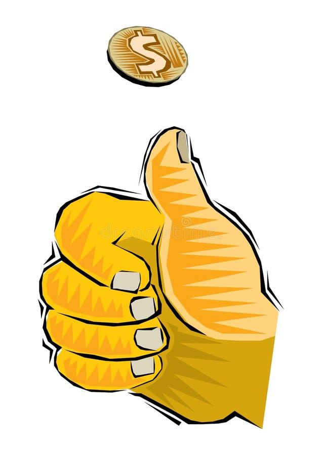 Clipart de mover de un tirón una moneda por la mano del hombre y la moneda de oro lanzada del dólar en diversas fases de giro El  libre illustration