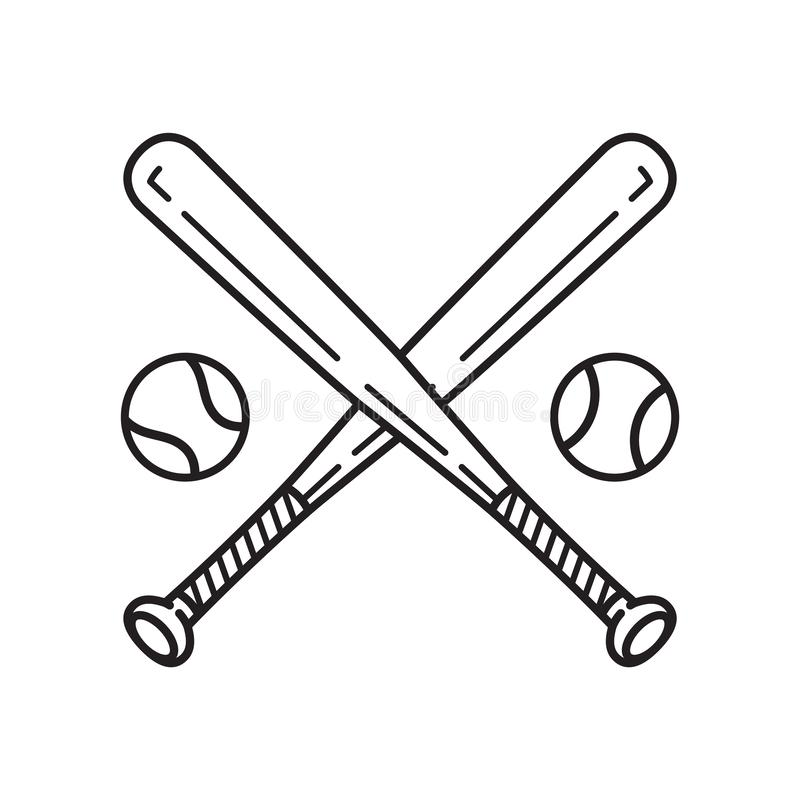 Clipart de symbole d'illustration de bande dessinée de batte de baseball de logo d'icône de vecteur de base-ball illustration libre de droits