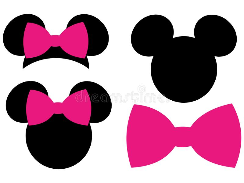 Clipart de vecteur de Minnie Mouse Mickey Mouse Head Bow ENV coupant des dossiers illustration de vecteur