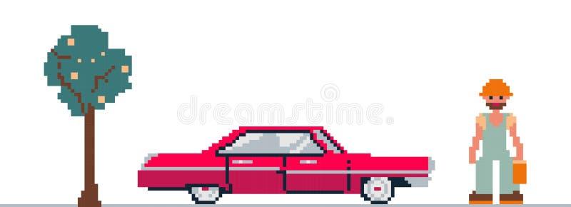 Clipart del arte del pixel con el coche, el árbol y el hombre stock de ilustración